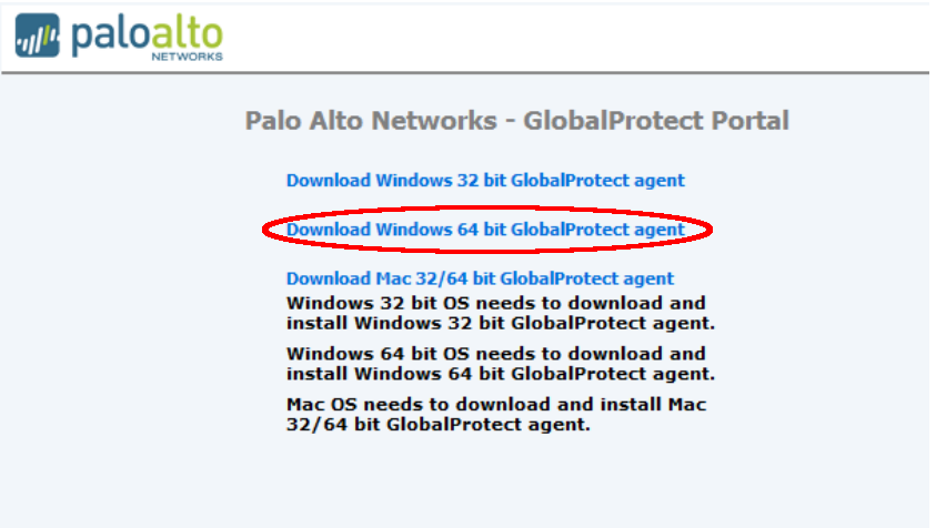 GlobalProtect Download Screen